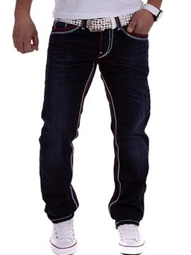 Ericdress Black Straight Denim Casual Men's Pants