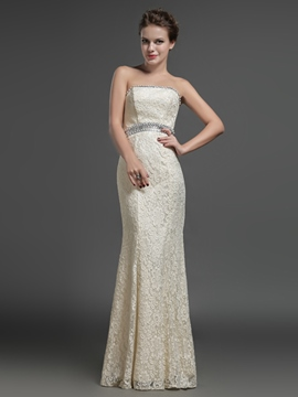 Ericdress Strapless Sheath Beading Crystal Lace Long Evening Dress