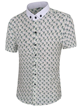 Ericdress Short Sleeve Print Button Down Casual Men's Shirt
