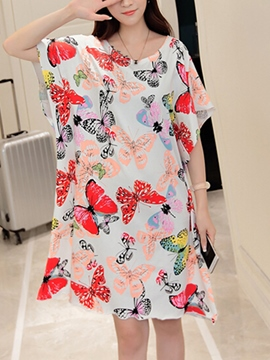 Ericdress Butterfly Print Loose Casual Dress