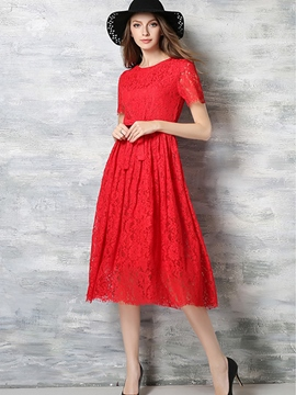 Ericdress Short Sleeve Belt-Tied Pleated Lace Dress