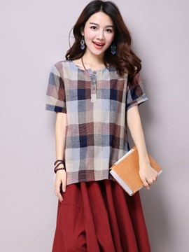 Ericdress Loose Plaid Casual T-Shirt