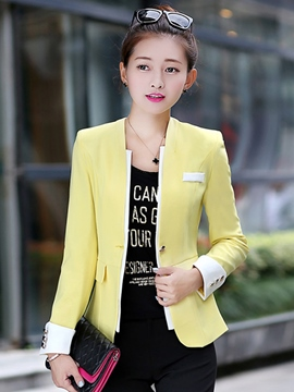 Ericdress Color Block One-Button Slim Blazer