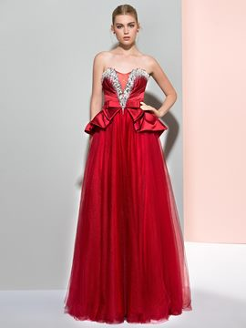 Ericdress A-Line Sweetheart Beading Bowknot Ruffles Long Prom Dress