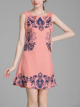 Ericdress Print A-Line Casual Dress