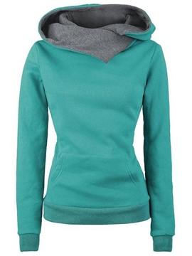 Ericdress Color Block Slim Asymmetric Hoodie