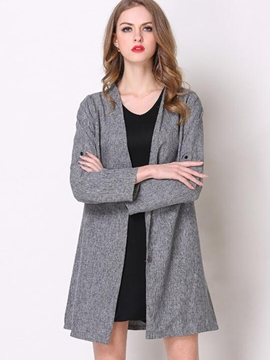 Ericdress Loose Solid Color Plus Size Trench Coat