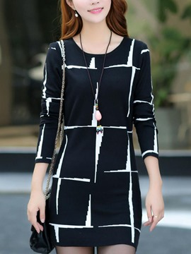 Ericdress Color Block Long Sleeve Sweater Dress