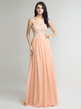 Ericdress A-Line Sweetheart Appliques Crystal Sequins Long Prom Dress