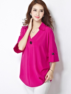 Ericdress V-Neck Solid Color Plus Size Blouse
