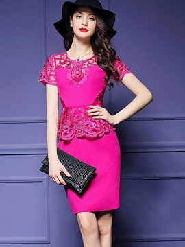 Ericdress Solid Color Patchwork Short Sleeve Bodycon Dress