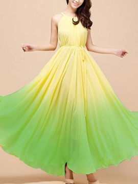 Ericdress Gradient Expansion Maxi Dress