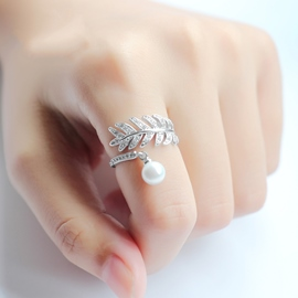Ericdress Leaves Crystal Silver Ring for Women