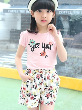 Ericdress Floral Print Short Sleeve Girls Outfits