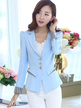 Ericdress Color Block Slim Stripped Blazer