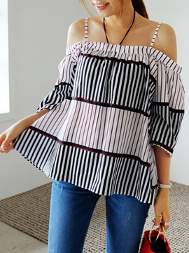 Ericdress Loose Cold Shoulder Stripped Blouse