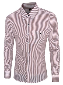 Ericdress Pocket Stripe Long Sleeve Men's Shirt