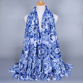 Ericdress Blue And White Porcelain Print Scarf