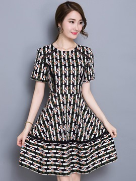 Ericdress Summer A-Line Print Short Sleeve Casual Dress