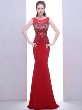 Ericdress Mermaid Scoop Beading Crystal Long Evening Dress