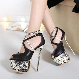 Ericdress Snake Patchwork Platform Stiletto Sandals