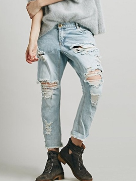 Ericdress Worn Ripped Jeans