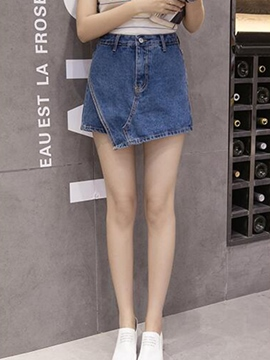 Ericdress Asymmetric Denim Shorts