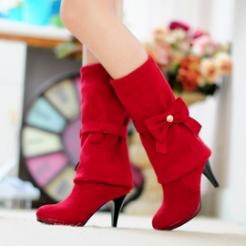 Ericdress Princess Bowtie Stiletto Heel Knee High Boots