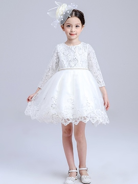 Ericdress Patchwork Long Sleeve Lace Girls Dresses