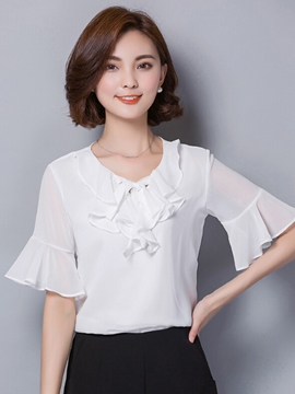 Ericdrss Tie Bow Front Flare Sleeve Blouse
