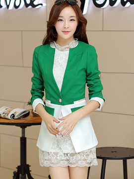Ericdress Color Block Slim Casual Blazer