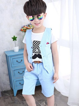 Ericdress Button Print Plain Boys Outfits