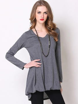 Ericdress Grey Asymmetric Pleated T-Shirt