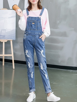 Ericdress Long Ripped Denim Suspender Pants