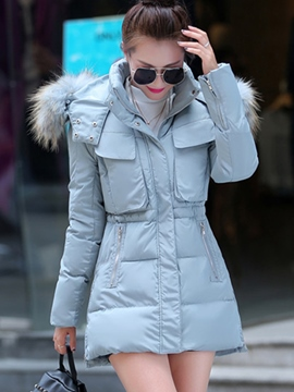 Ericdress Casual Slim Solid Color Hooded Coat