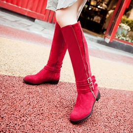 Ericdress Lovely Suede Side Zip Knee High Boots