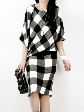 Ericdress Color Block Plaid Casual Dress