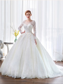 Ericdress Charming Scoop Ball Gown Long Sleeves Wedding Dress