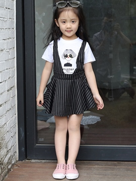 Ericdress Print Stripe Braces Girls Outfits