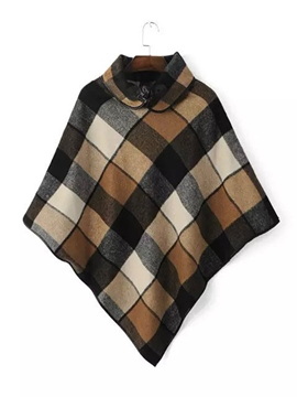 Ericdrss Plaid Horn Button Cape