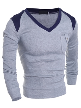 Ericdress V-Neck Pocket Knitwear Vogue Slim Men's Sweater