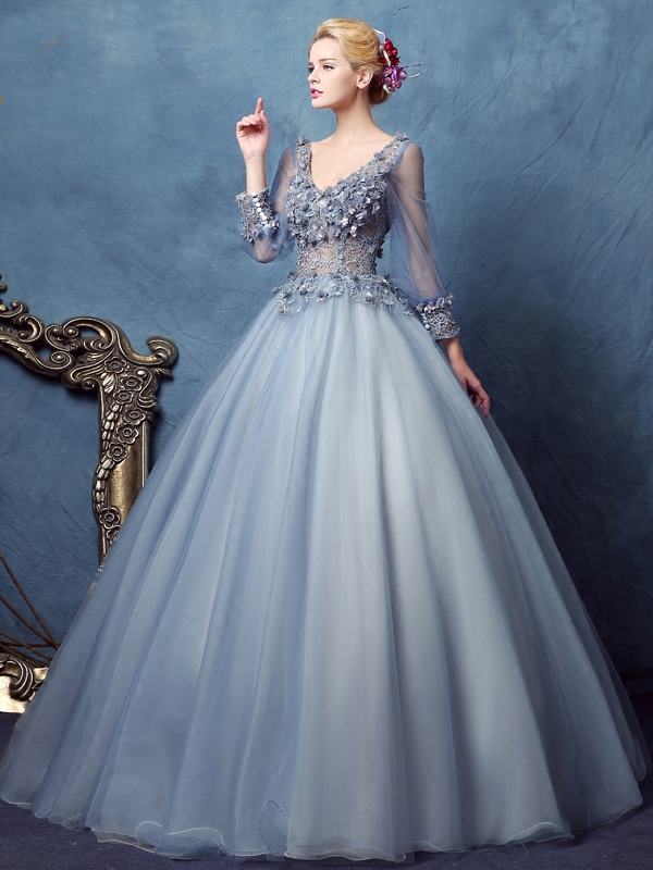 Ericdress Long Sleeves V Neck Ball Gown Lace Long