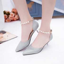 Ericdress Sequins Point Toe Pearl Ankle Strap Stiletto Sandals