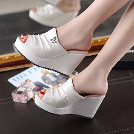 Ericdress Solid Color Peep Toe Wedge Mules Shoes