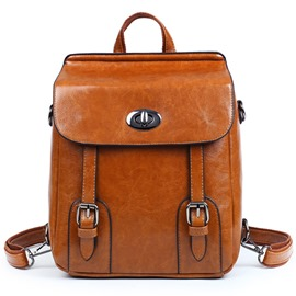 Ericdress Vintage Waxy Leather Backpack