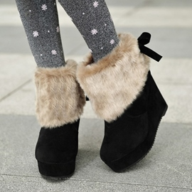 Ericdress Lovely Furry Suede Bowtie Ankle Boots