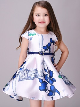 Ericdress Print Tie Short Sleeve A-Line Girls Dress