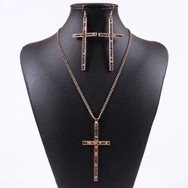 Ericdress Cross with Rhinestone Jewelry Set