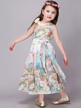 Ericdress Bow Belt Sleeveless Floral Print Girls Dresses