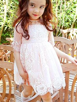 Ericdress Solid Color Lace Mesh Girls Dress